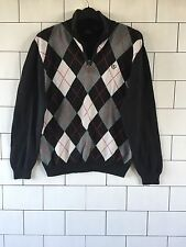 MENS 90'S STYLE BLACK IZOD URBAN VINTAGE RETRO CHUNKY KNIT JUMPER PULLOVER S/M