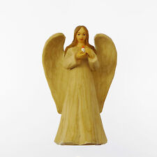 "Faux wood resin angel ornament statue with candle 5"" 12cm Christmas gift"