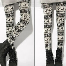 Winter Soft Warm Womens Knitted Snowflakes Deer Leggings Skinny Slim Pants Hot