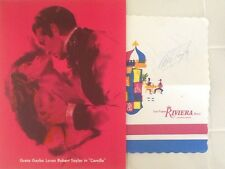 Robet Taylor SIGNED Riviera Placemat & 1936 Camille Garbo MGM Litho Art Drawing
