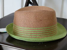 Ladies Hat  by Color Craze 100% Paper Natural/Green o/s