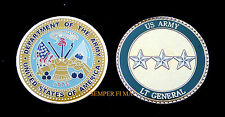 3 STAR LIEUTENANT GENERAL US ARMY CHALLENGE COIN O-9 FLAG PIN UP MILITARY RANK