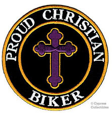 PROUD CHRISTIAN BIKER embroidered PATCH JESUS RELIGIOUS iron-on applique CROSS