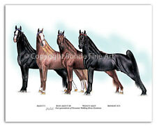 TENNESSEE WALKER walking HORSE ART - FAMOUS STALLIONS 4 Generations painting WOW