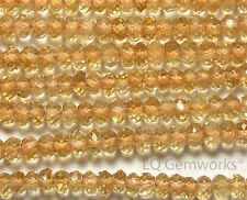 "14"" CITRINE 3mm Micro-Faceted Rondelle Beads NATURAL AAA /L1"