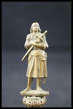 † c.1900 ST JOAN OF ARC FRANCE WAX SEAL / STAMP GILDED BRONZE FIGURE STATUE †