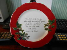 PORTMEIRION THE HOLLY AND THE IVY SIDE PLATE   NEW  6in DIAM RED BORDER