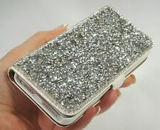 Silver Gray Bling Swarovski Element & Crystal Wallet Case Cover iPhone 6/6S Plus