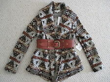 NWT JACK by BB DAKOTA BROWN AZTEC PRINT JACKET COAT SIZE M SUPER CUTE!