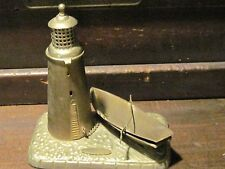 antique lighthouse and boat match holder tobacciana