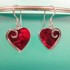 Red Heart Shape Abalone Shell Handmade 925 Sterling Silver Dangle/Drop Earrings