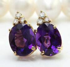5.14CTW Natural Amethyst & Diamond in 14K Solid Yellow Gold Stud Earrings