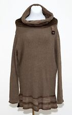 WOMENS FREYA TUNIC LONG JUMPER CASHMERE SILK WOOL SWEATER BROWN SIZE GB 18 EXC