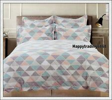 Mint Peach Silver Grey Geometric * 3pc KING QUILT DOONA COVER SET Tailored Edges