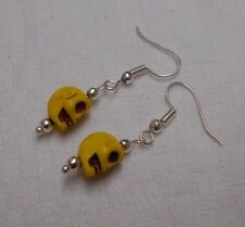 Turquoise gemstone yellow skull shaped handmade silver plated earrings +stoppers