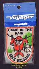 LMH PATCH Badge CAMP IN RAIN Camping SAVE WASHING RV Motor Home Cartoon Camper