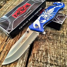 "RAZOR TACTICAL 8"" Spring Assisted Opening Rescue Pocket Knife  Blue Scorpion"