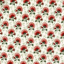 """Vintage Waverly Bonded Fabric """"Northfield"""" Cotton Red Floral 34"""" Wide BTY Unused"""