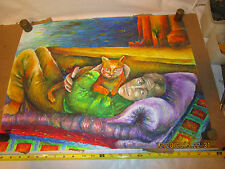"colorful vintage original grease or wax drawing of a man with his cat 18""x24"""
