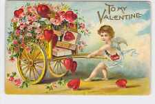 ANTIQUE VINTAGE VALENTINE'S DAY POSTCARD HEARTS CUPID ANGEL PULLING CART OF GIFT