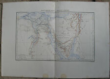 c1881  Large Antique Map - Lower Egypt, Nile Delta, Sinai Peninsular, Palestine