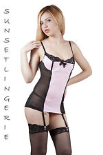 Sexy pink black suspender belt dress babydoll nightie lingerie bedroom 8-10 S