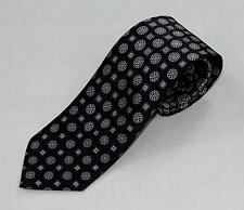 $230 Brioni 100% Silk Hand Made in Italy Black Gray White Medallion Pattern Tie