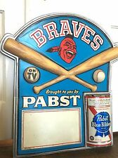 Original Vtg Atlanta Braves Baseball Pabst Blue Ribbon Beer Bar Man Cave Sign