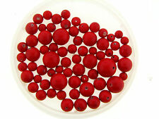 Vintage Japan Bright Yummy Cherry Red Coated Lucite Mix Classic Round Bead Lot