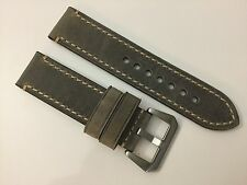 NEW 24MM GRAY GENUINE CRAZY HORSE LEATHER STRAP BAND BRACELET FOR PANERAI