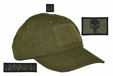 Made in USA Olive Drab OD Tactical Operator Hat w/ Punisher 3 pc Patch Set