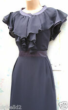 SIZE 6 8 WW2 40s VINTAGE STYLE TEA DRESS SWING LINDYHOP FRILL NECK # US 4 EU 36