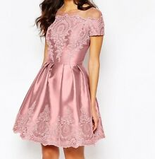 Chi Chi London Midi Dress with Embroidery and Cap sleeve Sz 8 NWT PINK