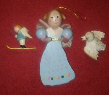 3 VINTAGE wood & paper machet CHRISTMAS TREE ORNAMENTS angel skier and dove