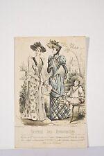 Dans un parc Robes Femmes Enfant Gravure MODE Paris 1890 Journal des Demoiselles