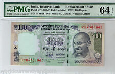 INDIA 100 RUPEES NL 2012 1CM* REPLACEMENT PMG64 UNC GANDHI CURRENCY MONEY 9 NOTE