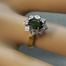 18ct gold second hand diamond & green tourmaline ring
