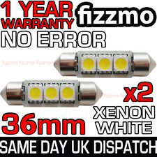 2x 36mm TARGA INTERNO ERRORE 6000K BIANCO 3 LED SMD C5W FESTONE LAMPADINA