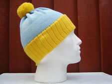 BOBBLE HATS 100% ACRYLIC   YELLOW / SKY   BLUE - LIKE  CARTMAN SOUTH PARK STYLE