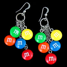 NEW M&M's Candy Multi Charm Dangle Wire Earrings Fun Fashion Jewelry Accessory