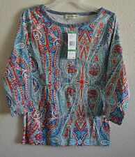 BNWT JONES NEW YORK SPORTS paisley printed tops # SizeL@ $8.99 & $6.99 SHIPPING