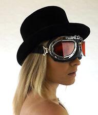 Nuevo Negro Acolchado Steampunk alternativa Cyber Fantasy Gafas Lente Roja Gafas