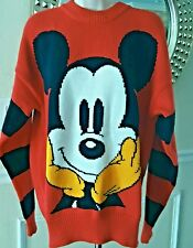 Mickey Inc Vintage Ladies Mickey Mouse Sweater Size L Red Black and White