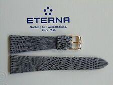VINTAGE ETERNA GOLD BUCKLED 20MM SLATE LIZARD LEATHER WATCH BAND WATCHBAND STRAP