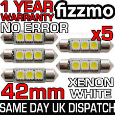 5x 42mm NUMBER PLATE INTERIOR 6000k BRIGHT WHITE 3 SMD LED C5W 264 FESTOON BULB