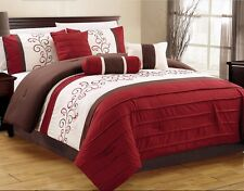 7 Pc Burgundy Beige Brown Pin Tuck Embroidered QUEEN Comforter Set Bed-In-a-Bag