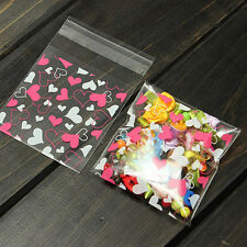 Cute 100pcs/lot Sweet Heart Pic. self-adhesive plastic bags for biscuits snackHF