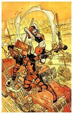 """DEADPOOL HARLEY QUINN MAD MAX 11"""" X 17"""" Signed POSTER Print by LEE OAKS! art"""