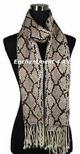 Large Stunning Handmade 2-Ply 100% Cashmere PYTHON Shawl Wrap Scarf, Beige