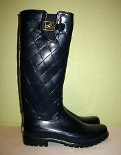 WOMENS NAVY BLUE QUILTED SPERRY TOP-SIDER TALL RAIN BOOTS US 11 M EUR 41 41.5 42